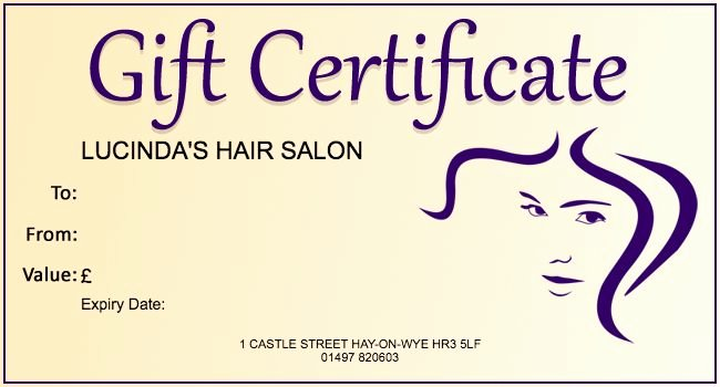 Free Hair Salon Gift Certificate Template 01 Gift
