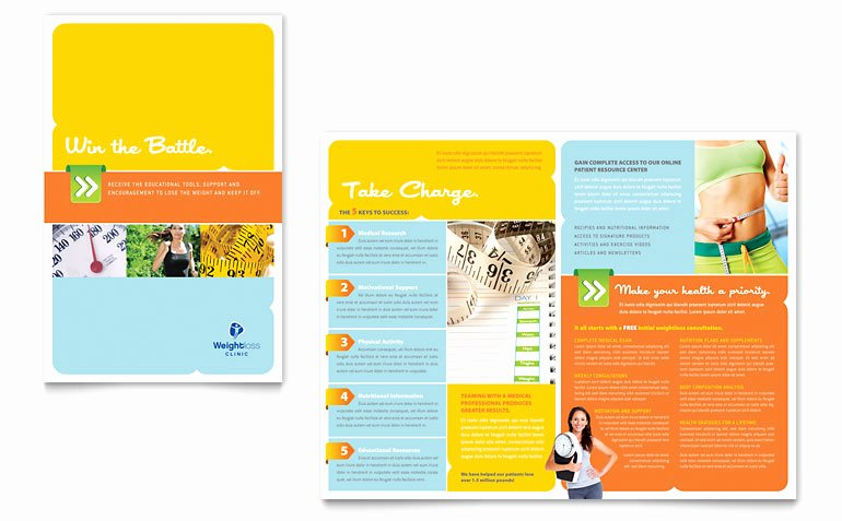 Free Half Fold Brochure Template Weight Loss Clinic