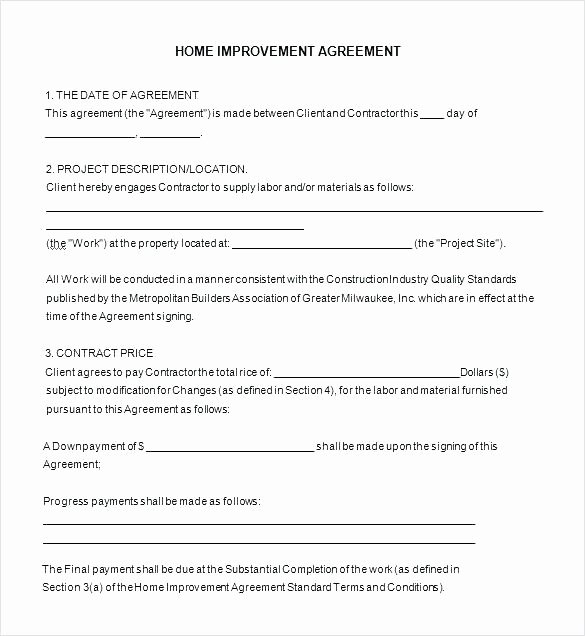 Free Home Improvement Estimate forms Simple Contract