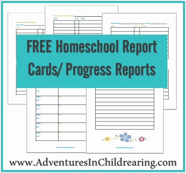 Free Homeschool Printable Progress Report and Report Card