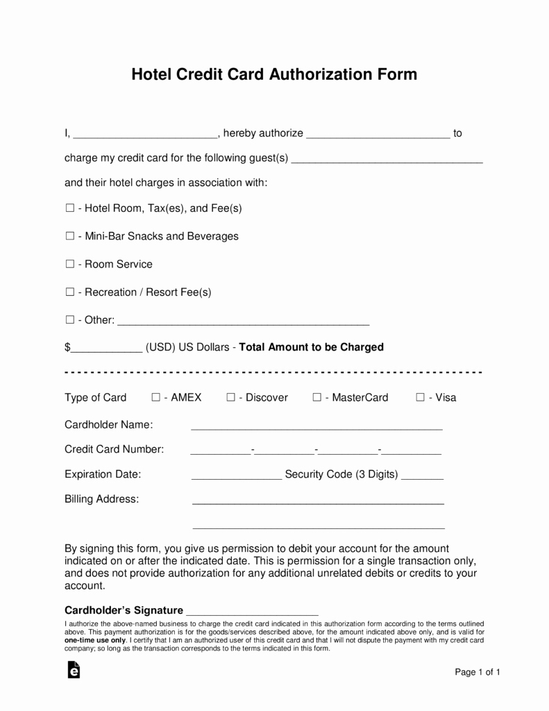 Free Hotel Credit Card Authorization forms Word