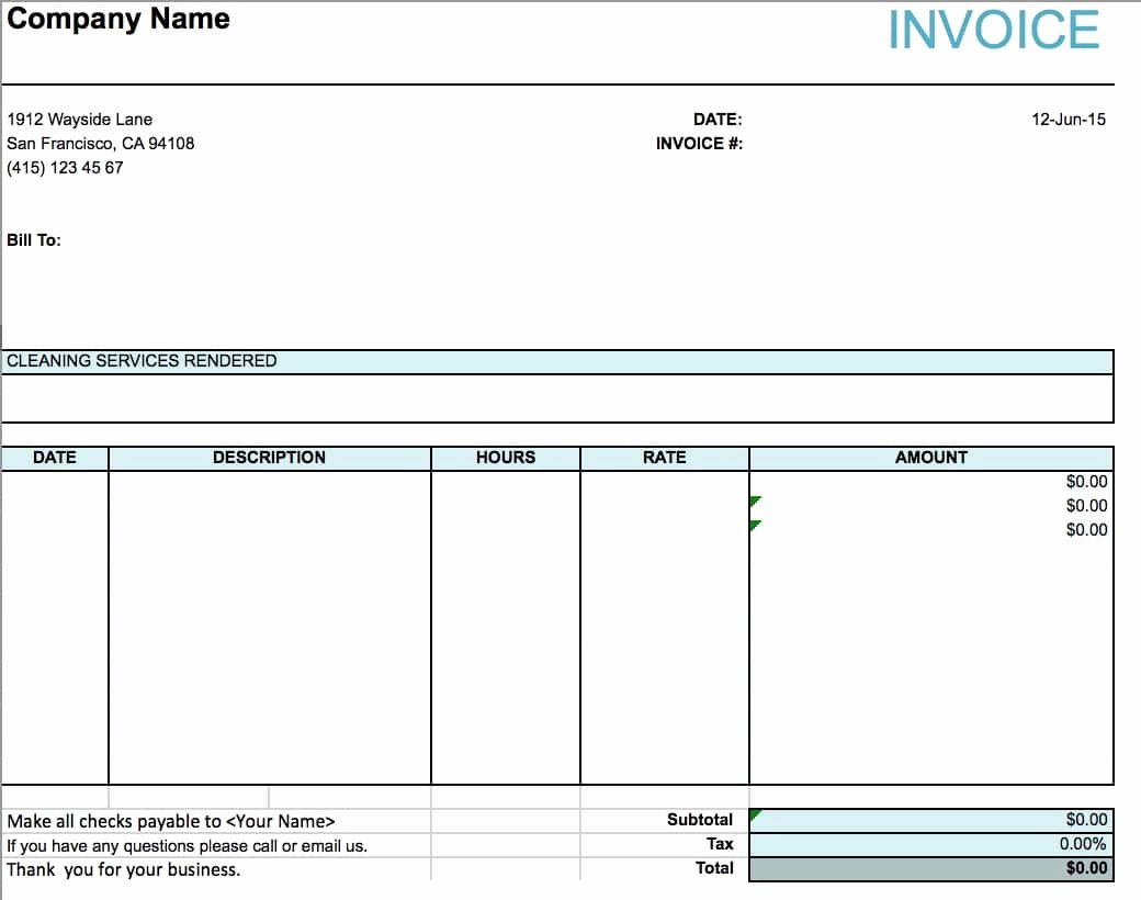Free House Cleaning Service Invoice Template Excel