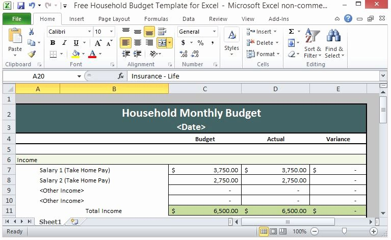 Free Household Bud Template for Excel