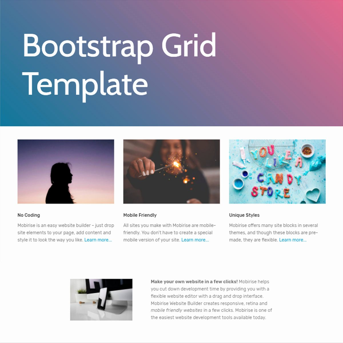 Free HTML Bootstrap 4 Grid Template