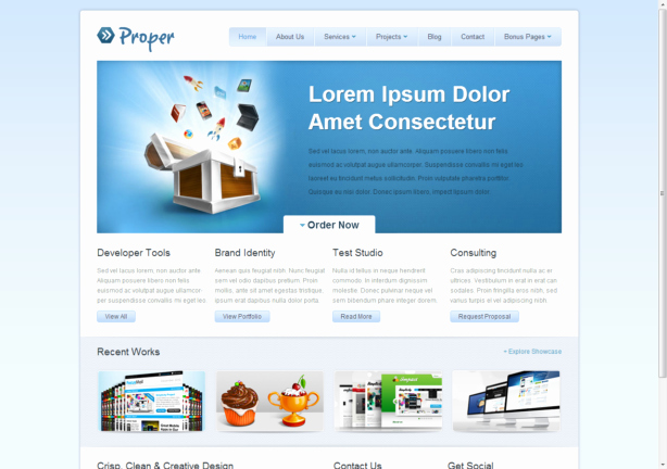 Free HTML5 Css3 HTML5 Template Proper