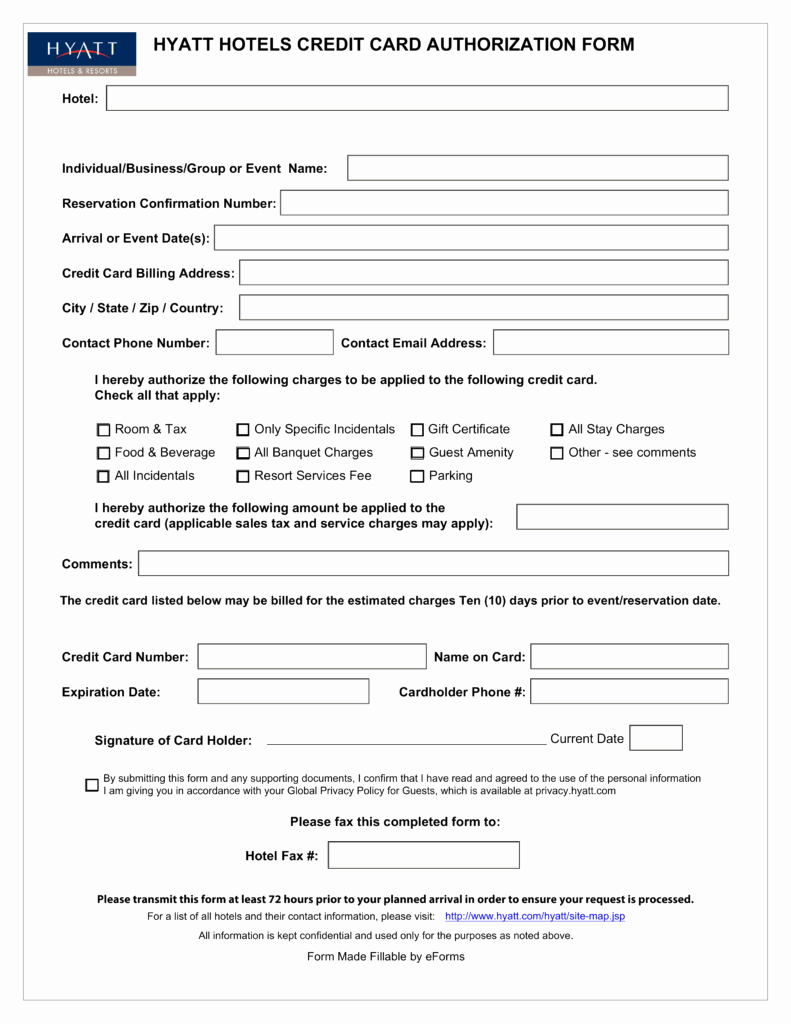 Free Hyatt Credit Card Authorization form Pdf