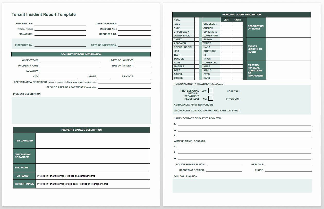Free Incident Report Templates Smartsheet