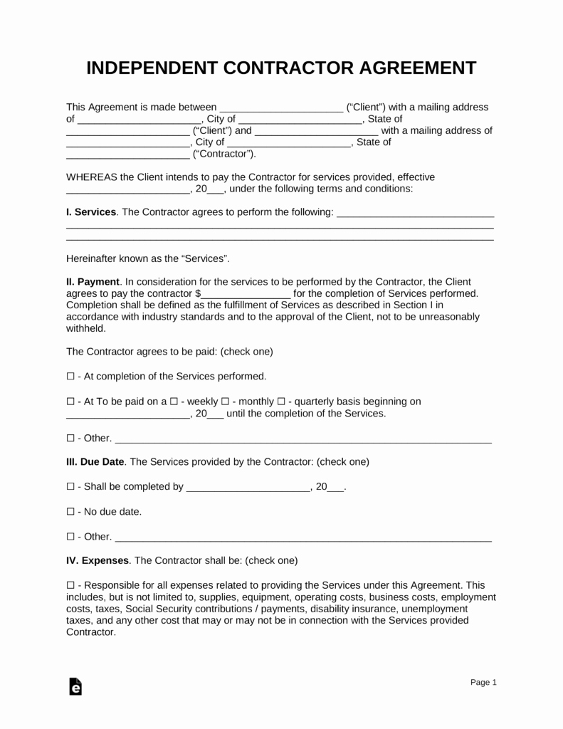 Free Independent Contractor Agreement Template Pdf