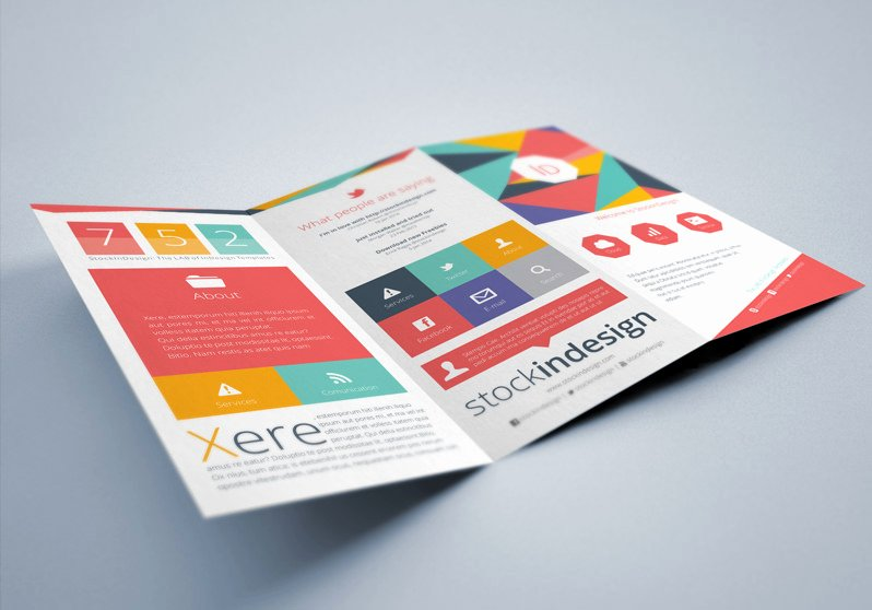 Free Indesign Brochure Templates Flat Trifold Brochure
