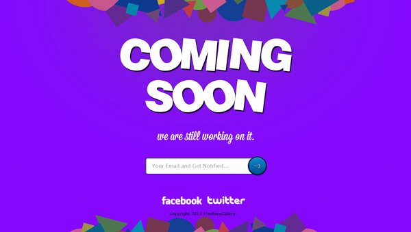 Free Ing soon Page Template Psd
