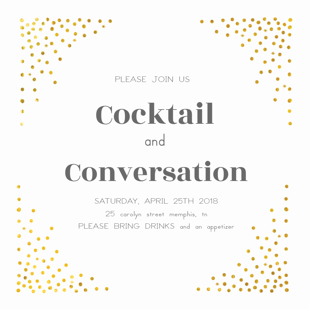Free Invitation Template Cocktail Dots