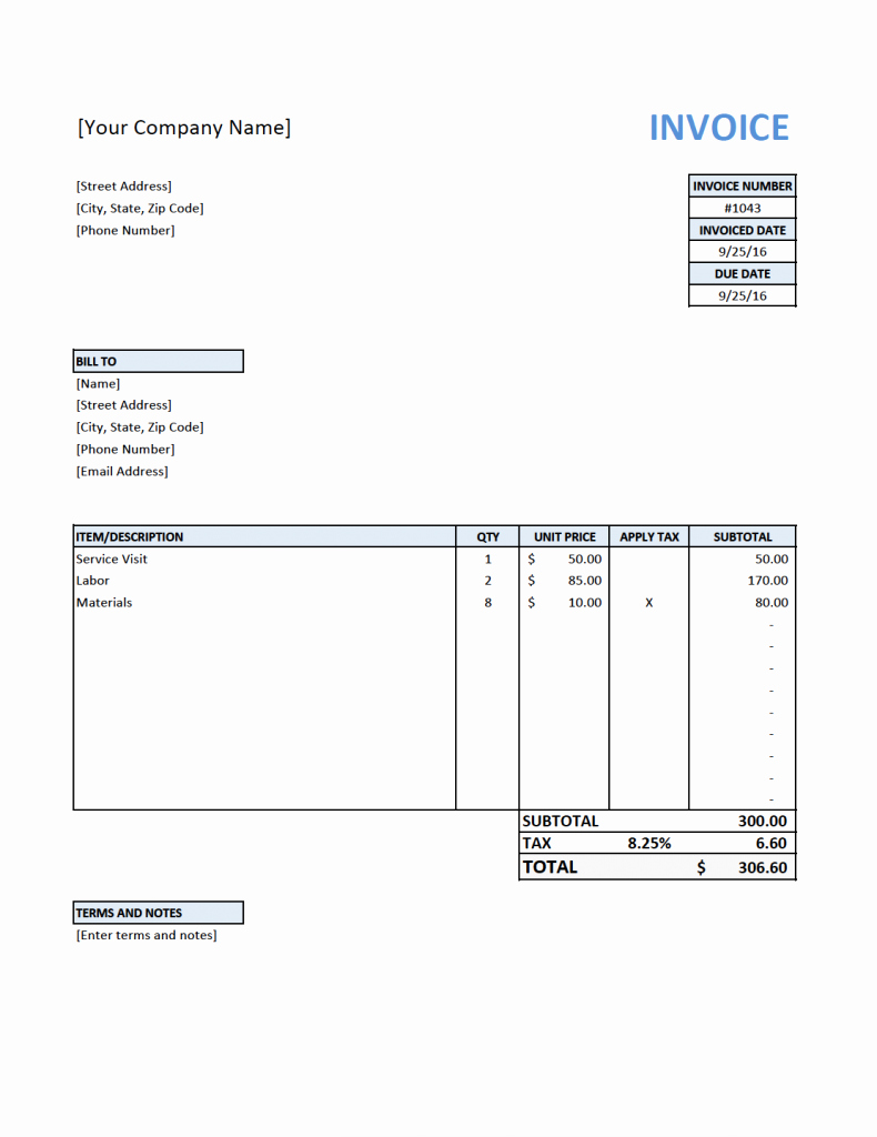 Free Invoice Template for Contractors
