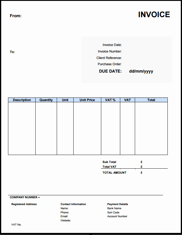 Free Invoice Template Uk Use Line or Download Excel & Word