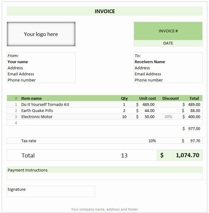 Free Invoice Template Using Excel Download today
