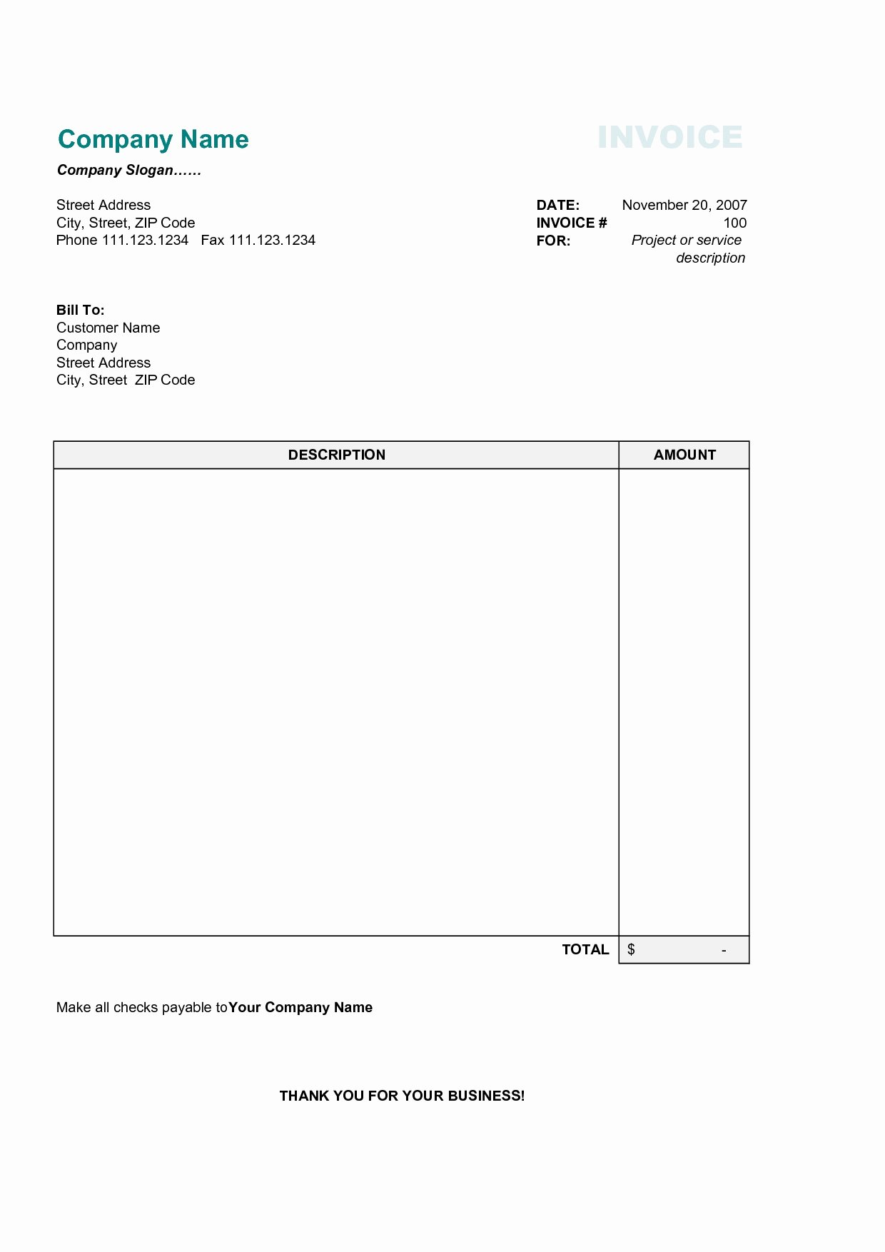 Free Invoices Templates Invoice Template Ideas