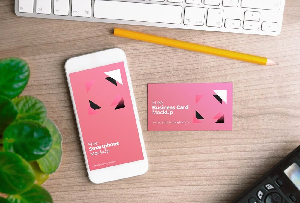 Free iPhone with Business Card Mockup Psd Template