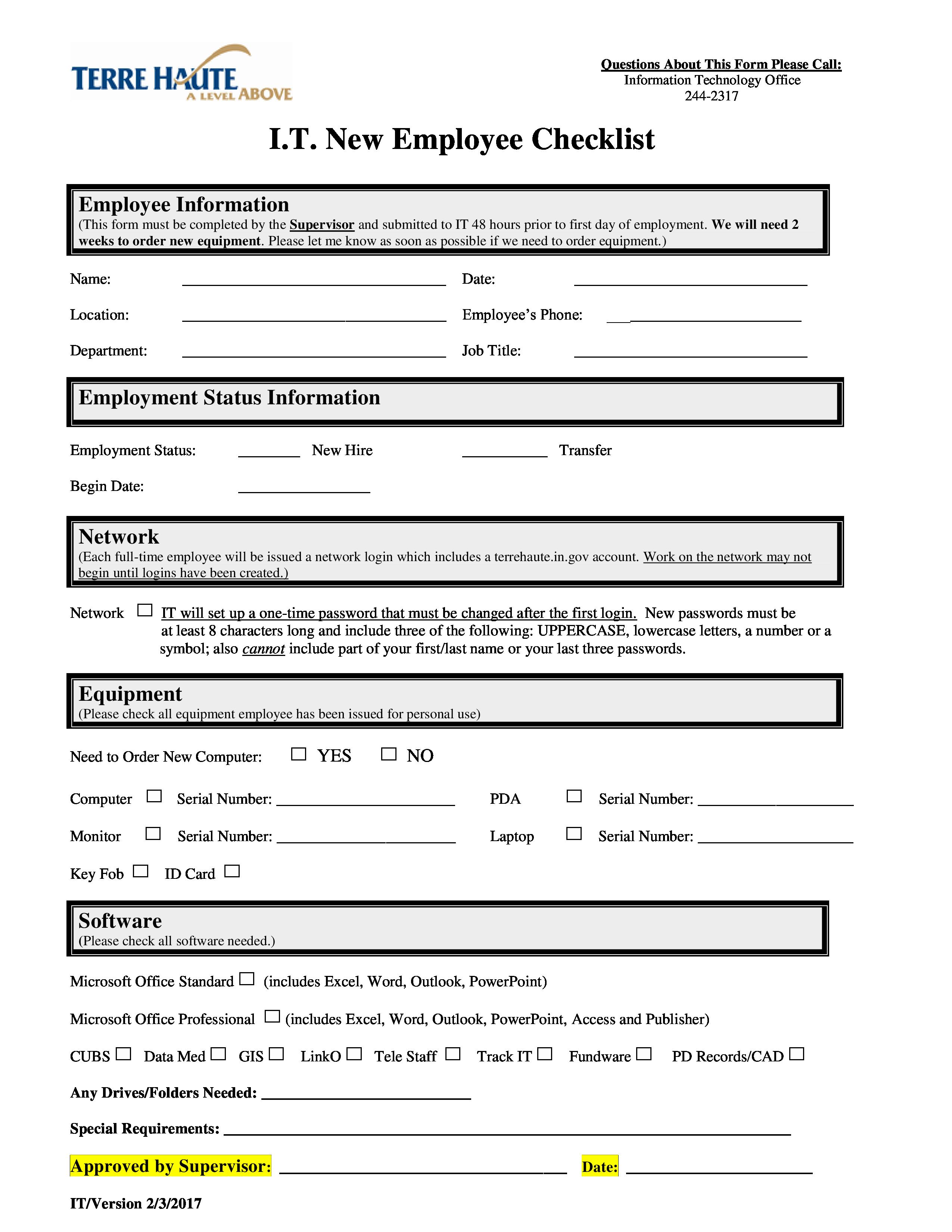 Free It New Employee Checklist