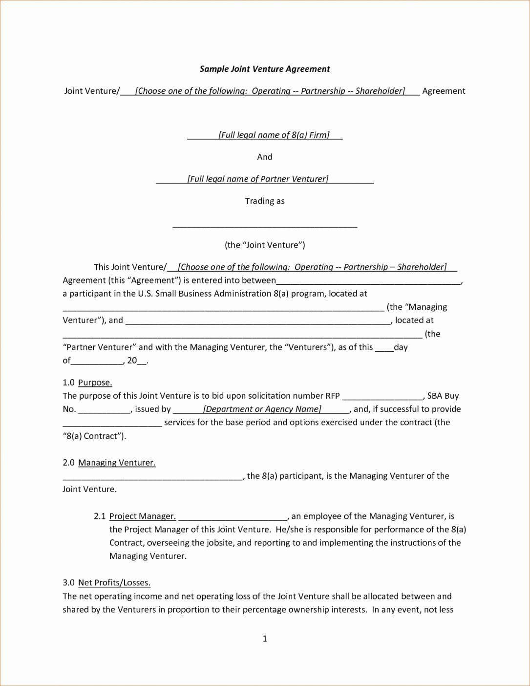 Free Joint Venture Agreement Template Yogatreestudio