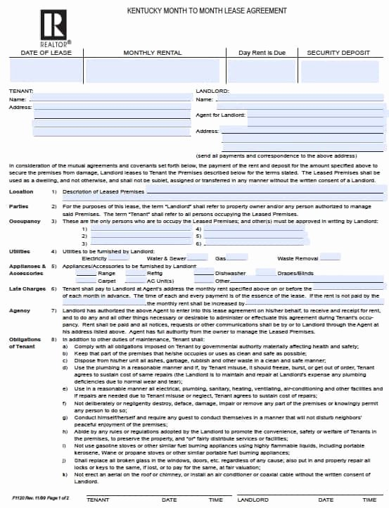 Free Kentucky Month to Month Rental Agreement – Pdf Template