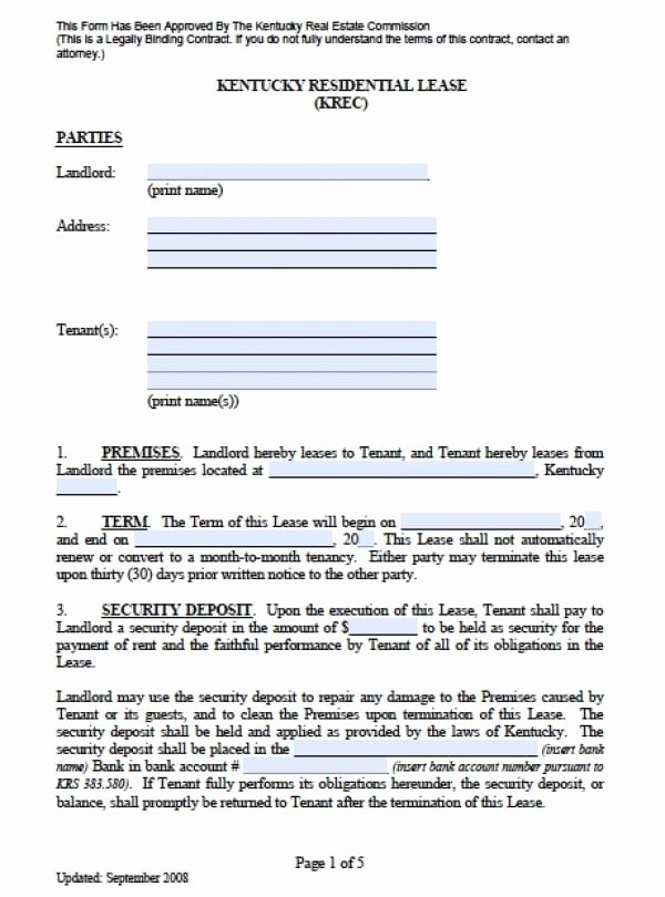 Free Kentucky Residential Lease Agreement Pdf