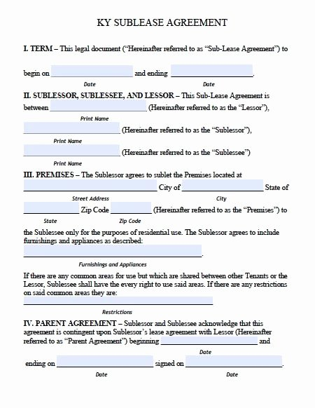 Free Kentucky Sublease Roommate Agreement form – Pdf