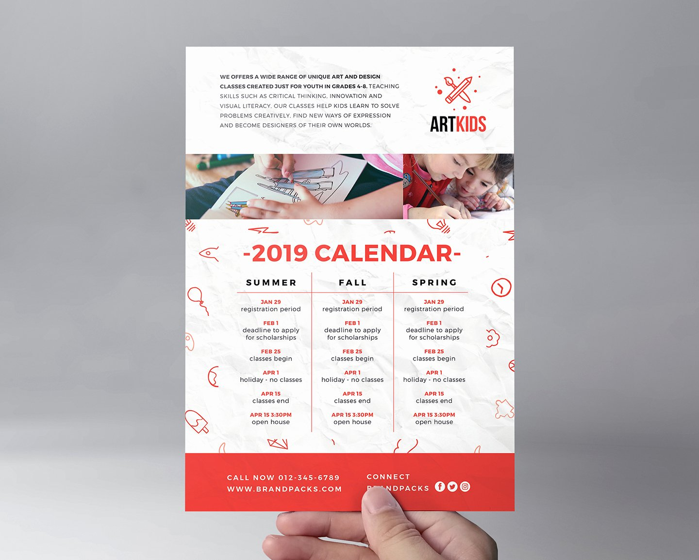 Free Kid S Art School Flyer Template for Shop