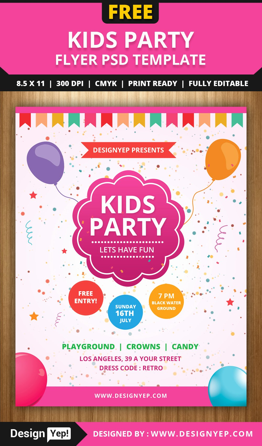 Free Kids Party Flyer Psd Template Designyep