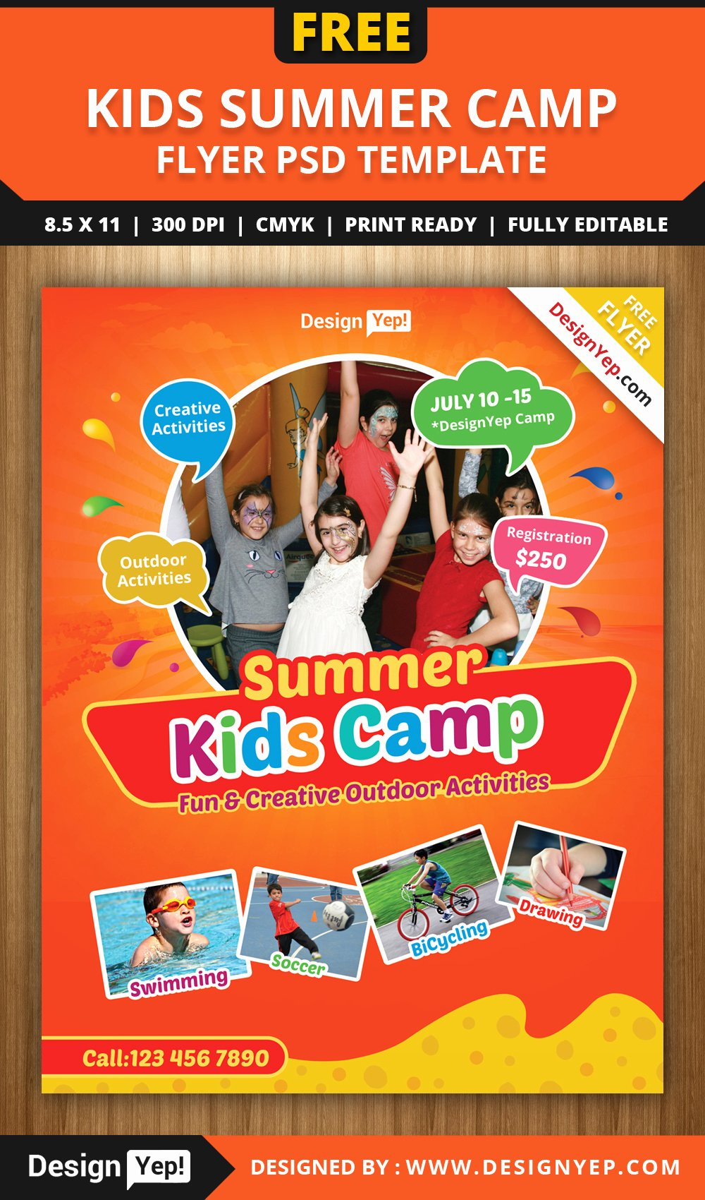 Free Kids Summer Camp Flyer Psd Template Designyep