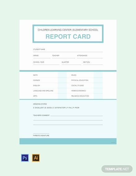 Free Kindergarten Quarterly Report Card Template Download