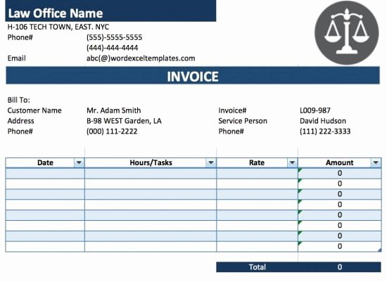 Free Legal attorney Lawyer Invoice Template