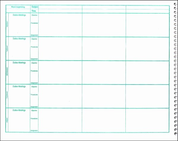 Free Lesson Plan Book Template