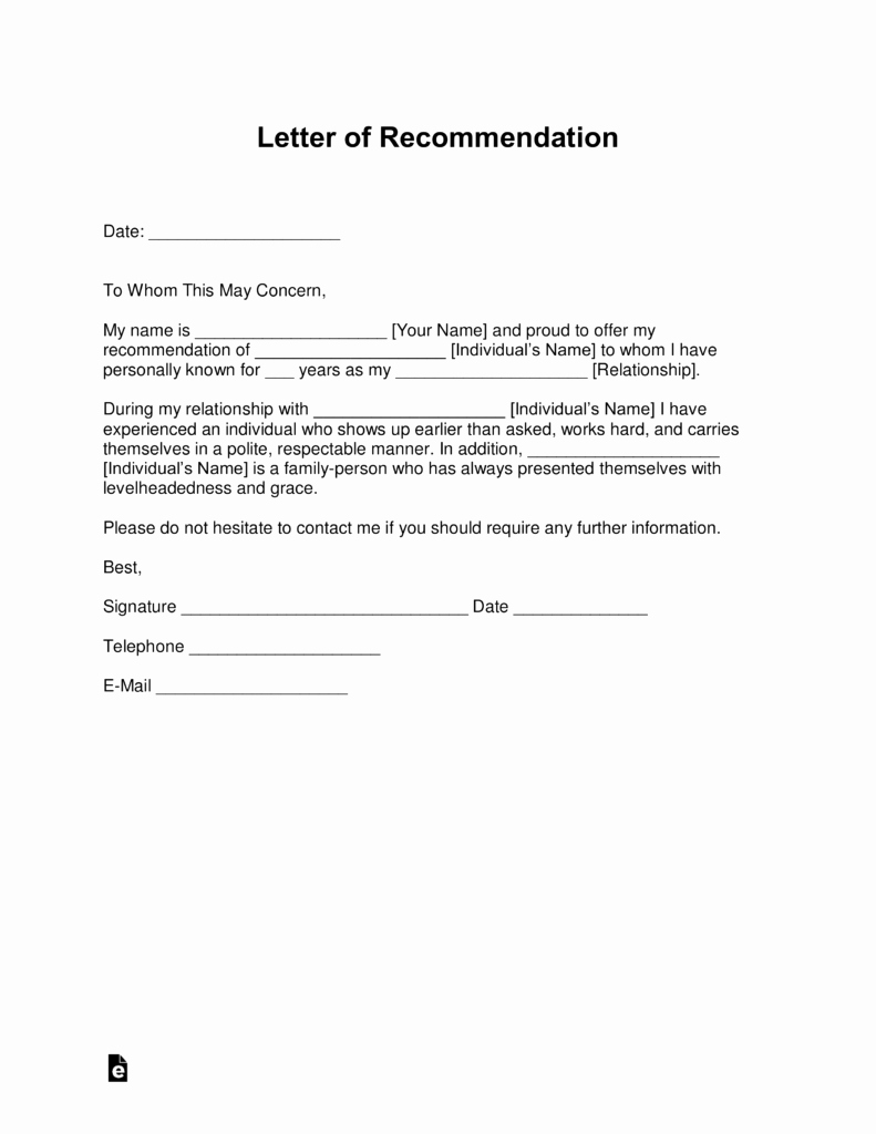 Free Letter Of Re Mendation Templates Samples and