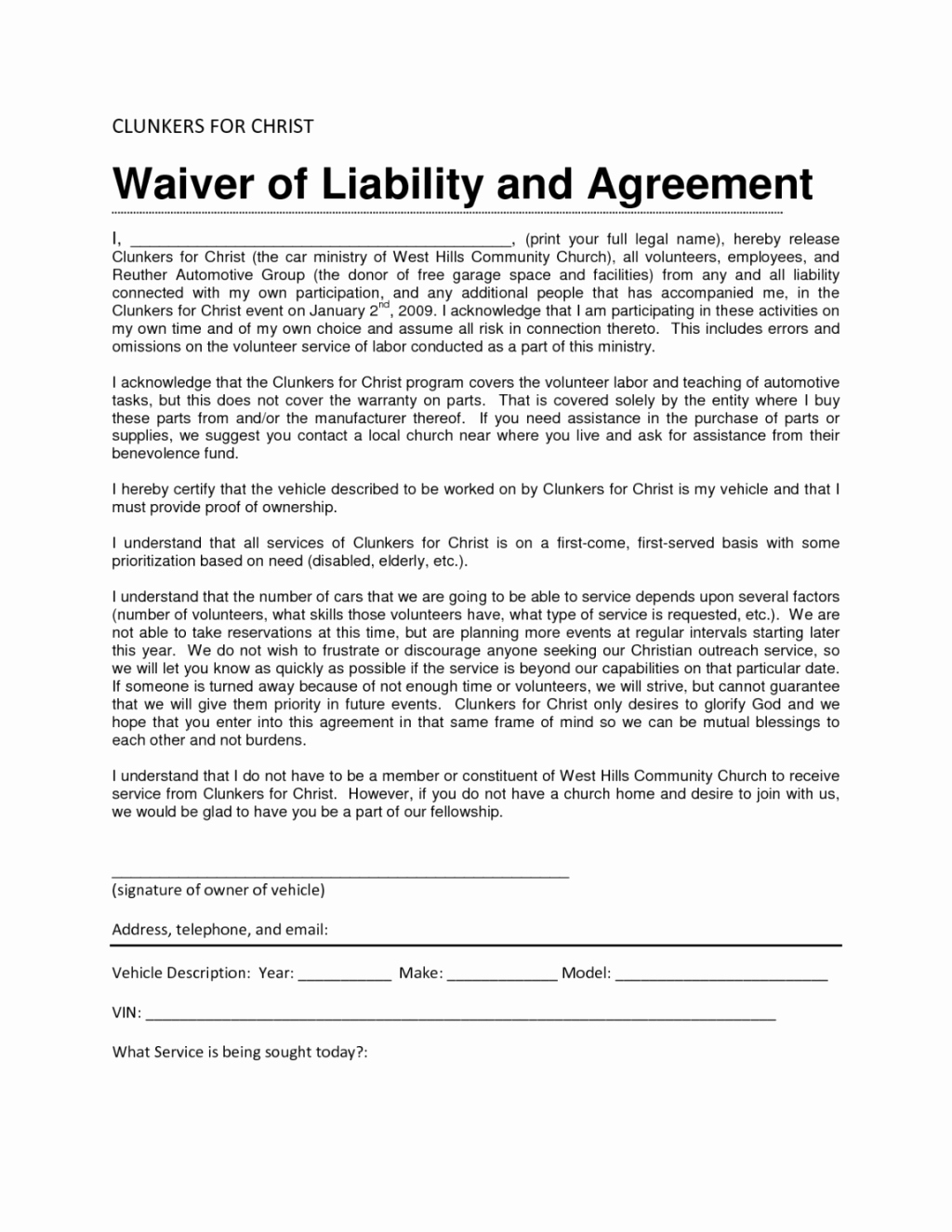 Free Liability Waiver form Template Image Accident and