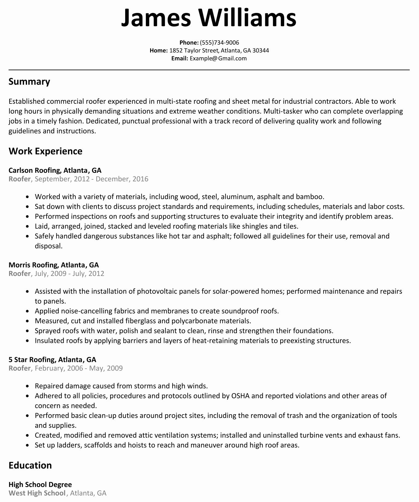 Free Line Resume