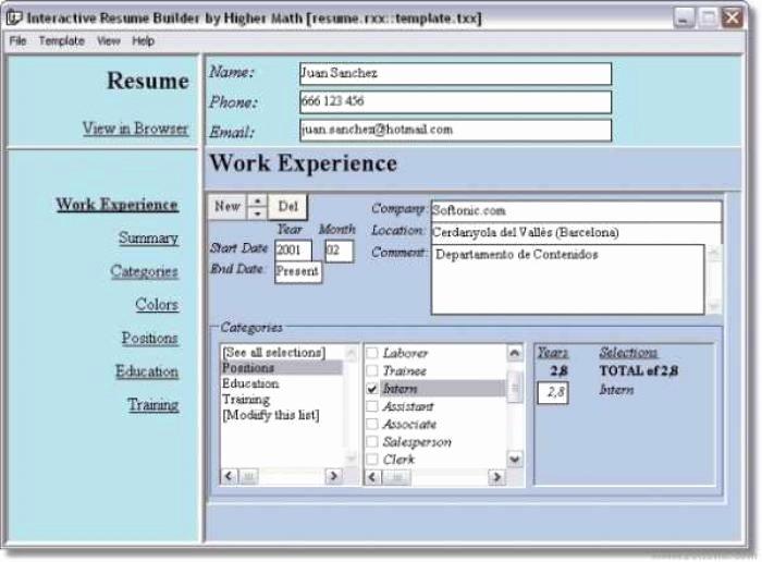 Free Line Resume Builder software Download Best Resume