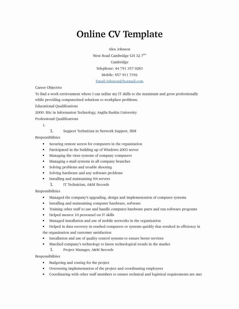 Free Line Resume Templates