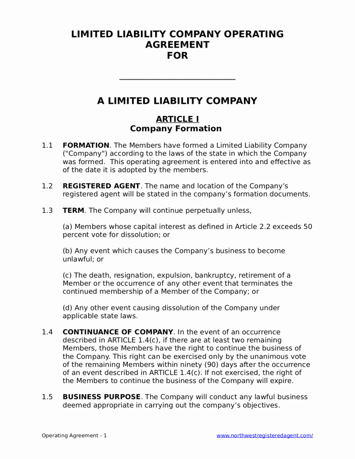 Free Llc Operating Agreement for A Limited Liability Pany