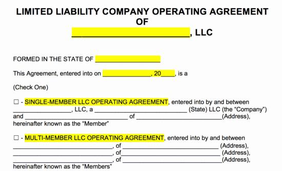 Free Llc Operating Agreement Templates Pdf