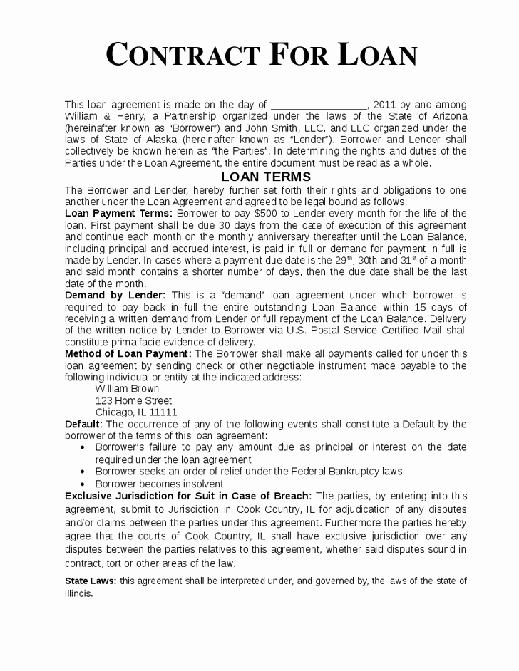Free Loan Agreement Contract Template for Loans Between