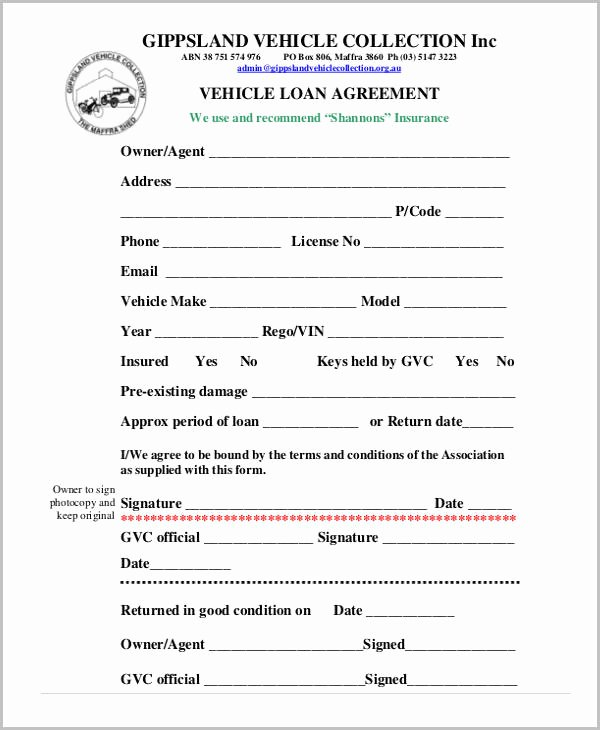 Free Loan Agreement form