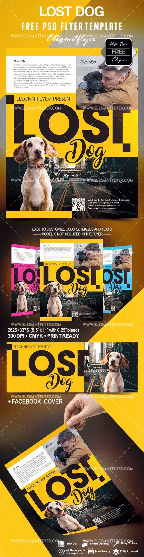 Free Lost Dog Flyer Template – by Elegantflyer
