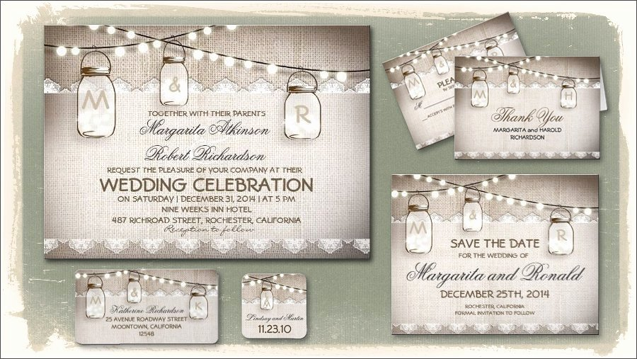 Free Mason Jar Wedding Invitation Printable Templates