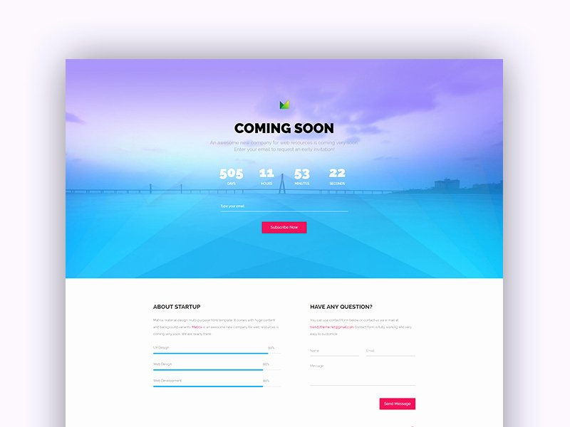 Free Material Design Ingsoon Template by Trendytheme