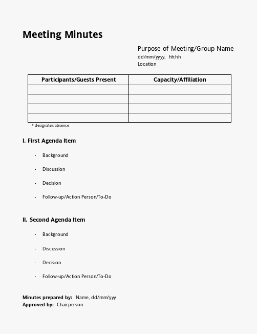 Free Meeting Minutes Template Meeting Minutes