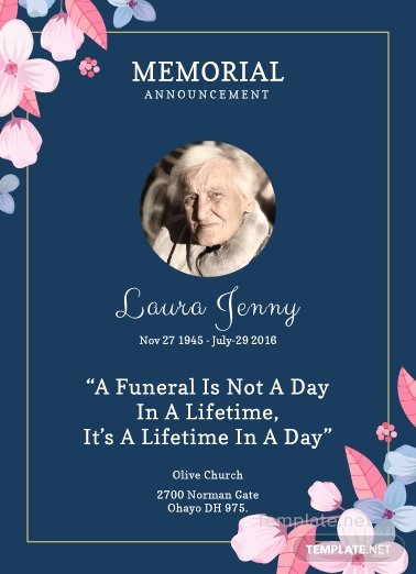 Free Memorial Service Announcement Invitation Template In