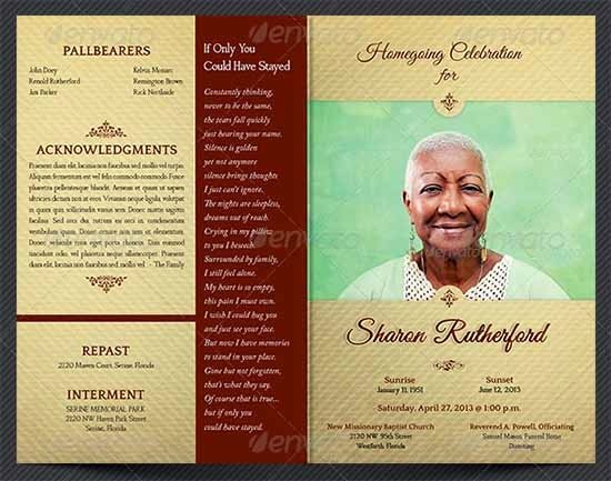 Free Memorial Service Program Template Invitation Template