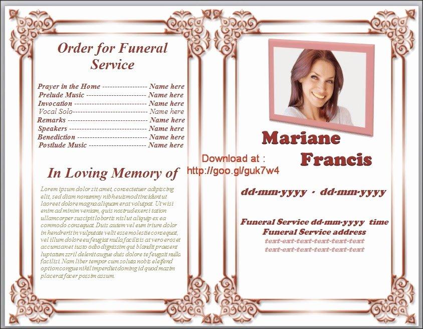 Free Memorial Service Program Template Invitation Template