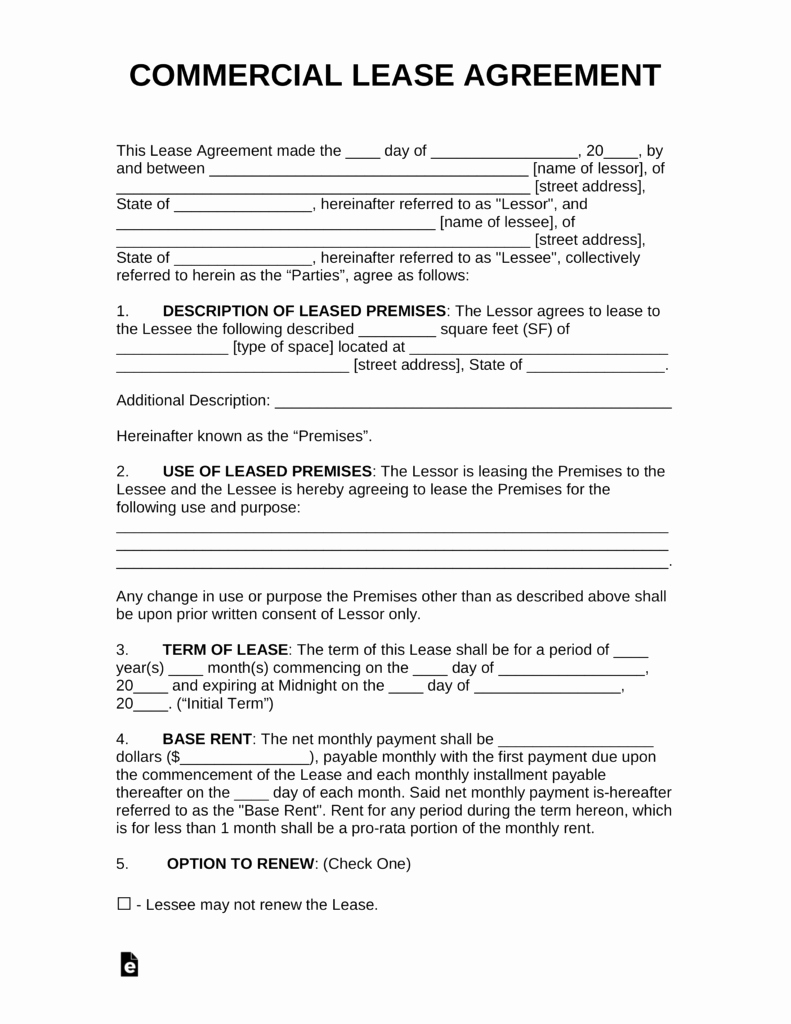 Free Mercial Rental Lease Agreement Templates Pdf