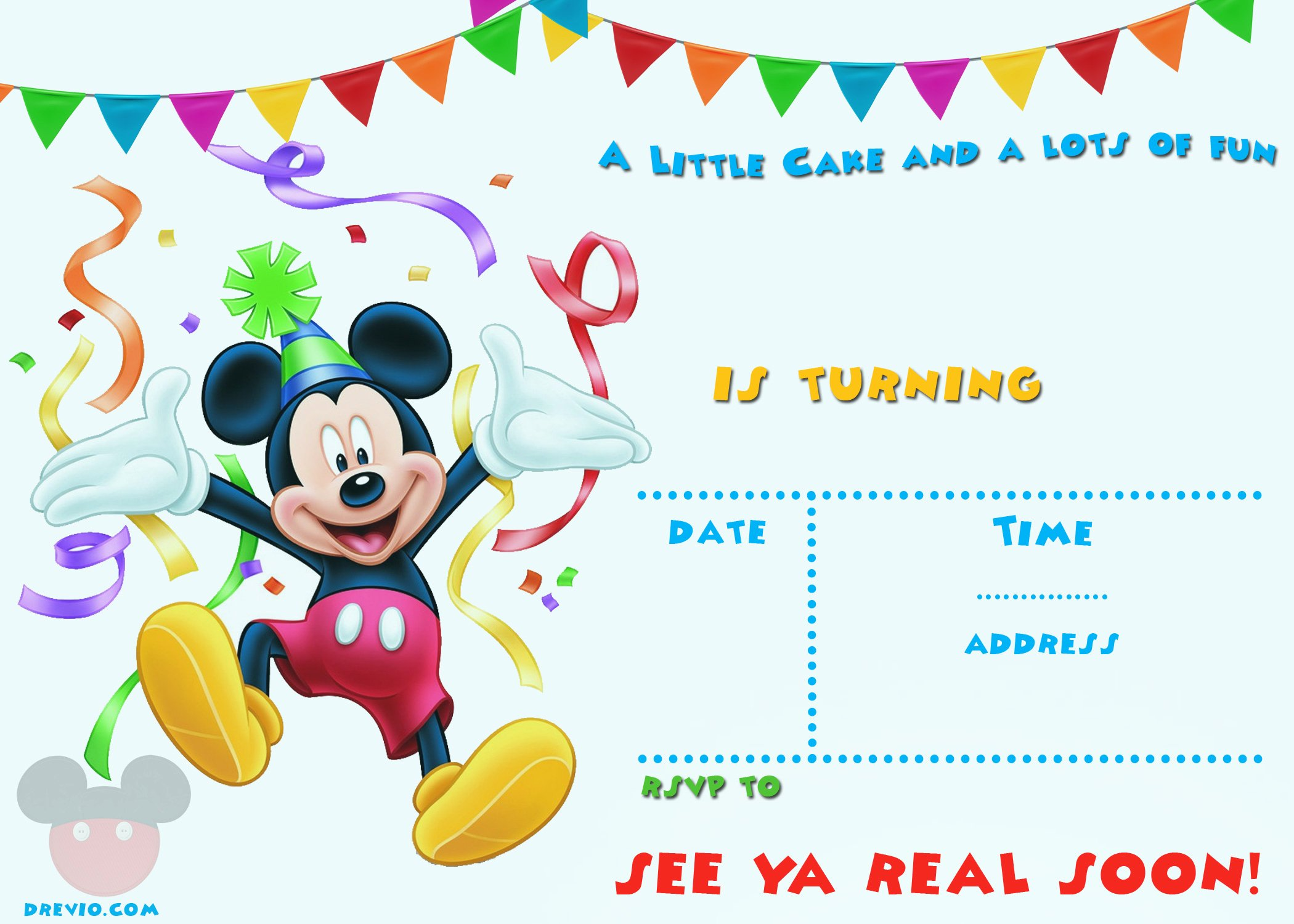 Free Mickey Mouse 1st Birthday Invitations – Free
