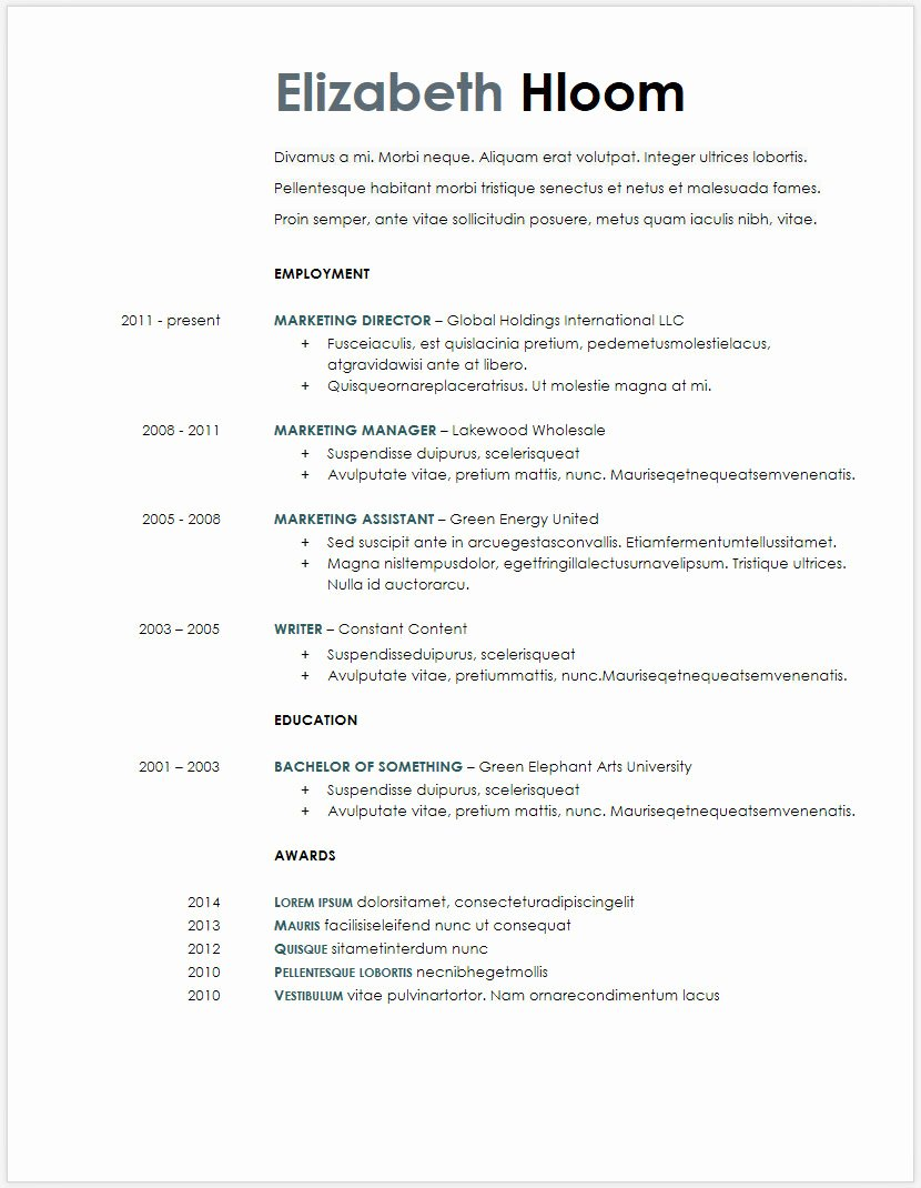 Free Microsoft Word Doc Google Docs Resume Templates Best